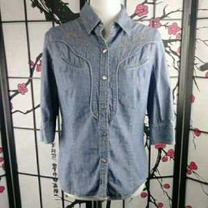 Levi's Chambray Embroidered Shirt Western Denim